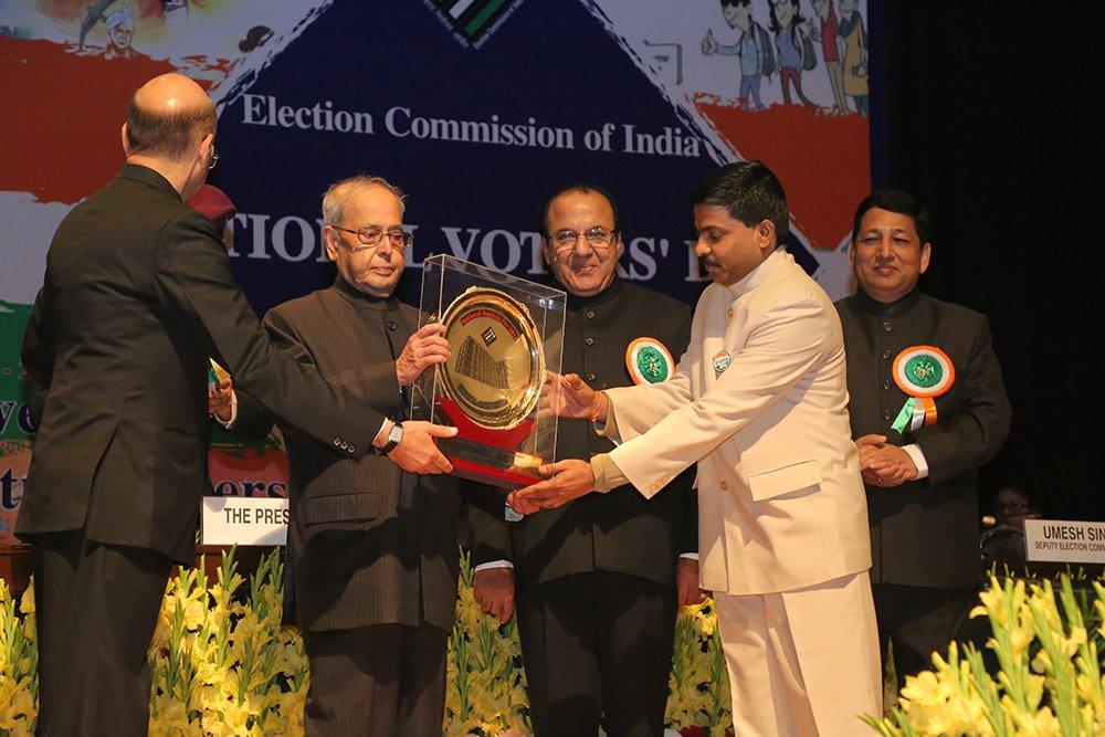 Hon'ble President of India Shri. Pranab Mukherjee awards Dr V Candavelou, CEO Puducherry for SVEEP (Best State category).