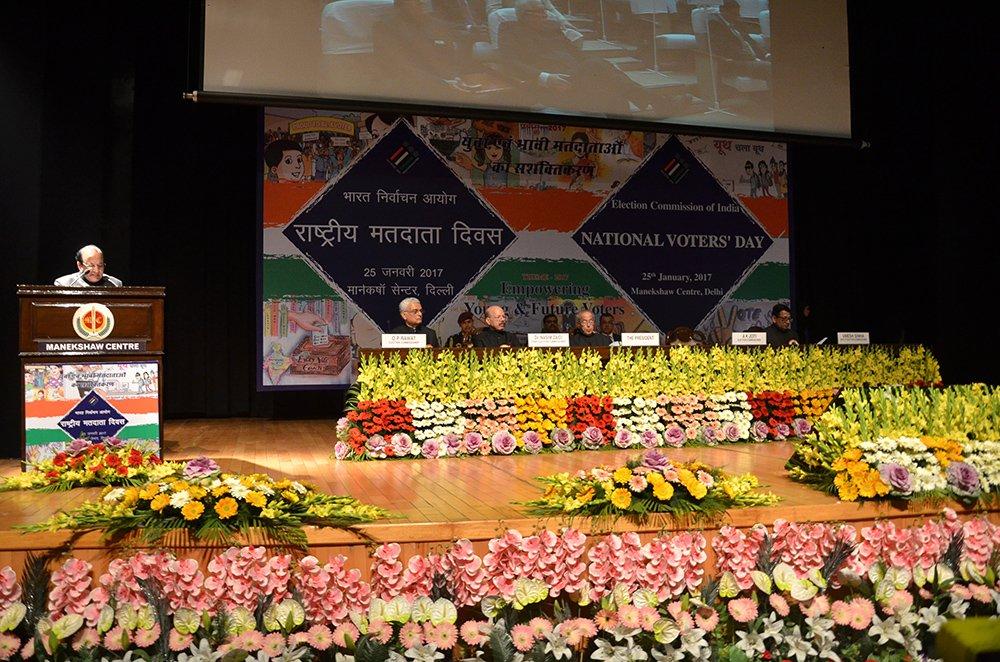 Election Commissioner Shri. A.K. Joti addresses the gathering in the presence of Hon'ble President of India Shri Pranab Mukherjee on the ocassion of NVD