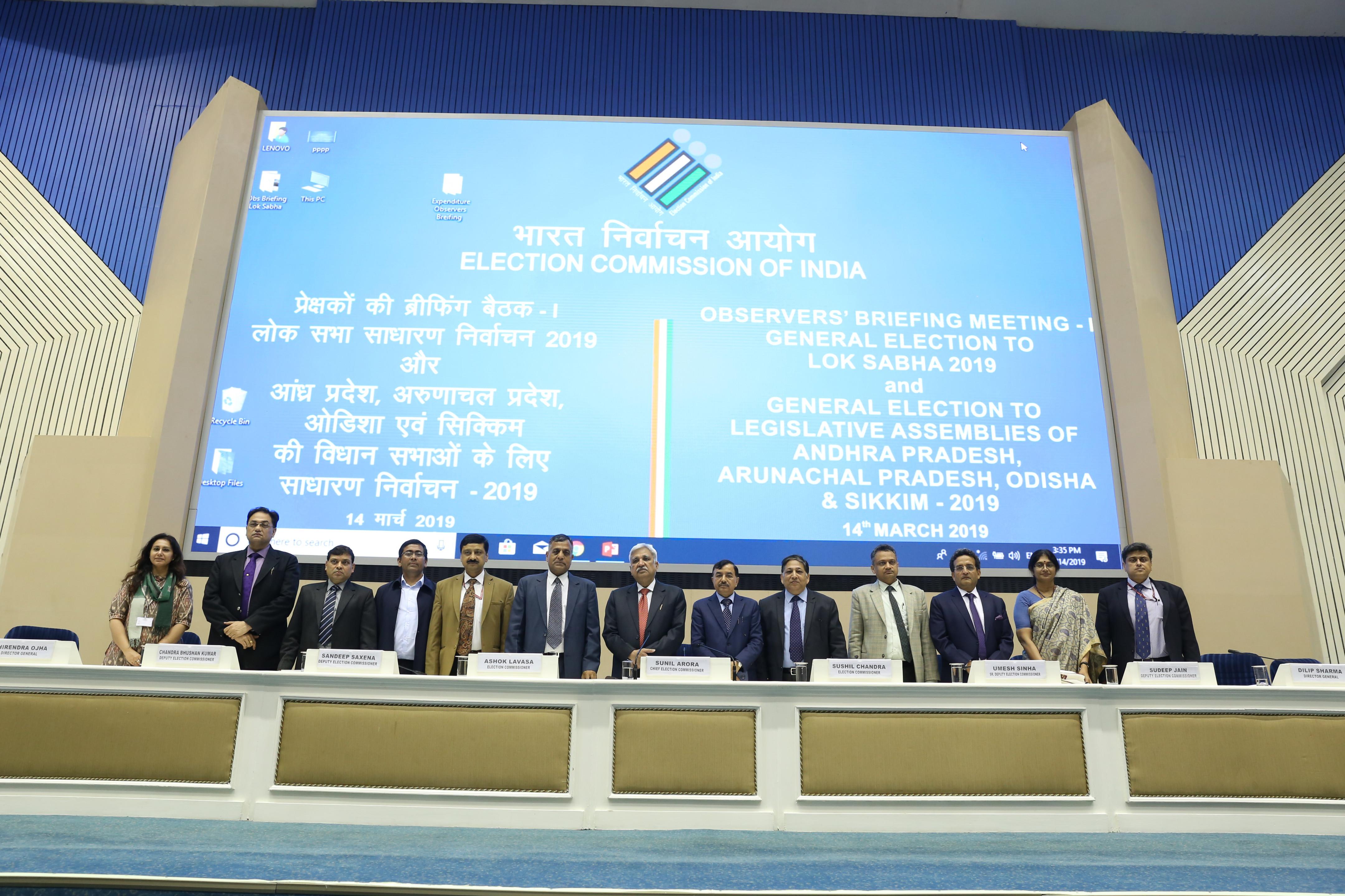 Observers' Briefing Meeting -1 GE to Lok Sabha & Legislative Assemblies, 2019