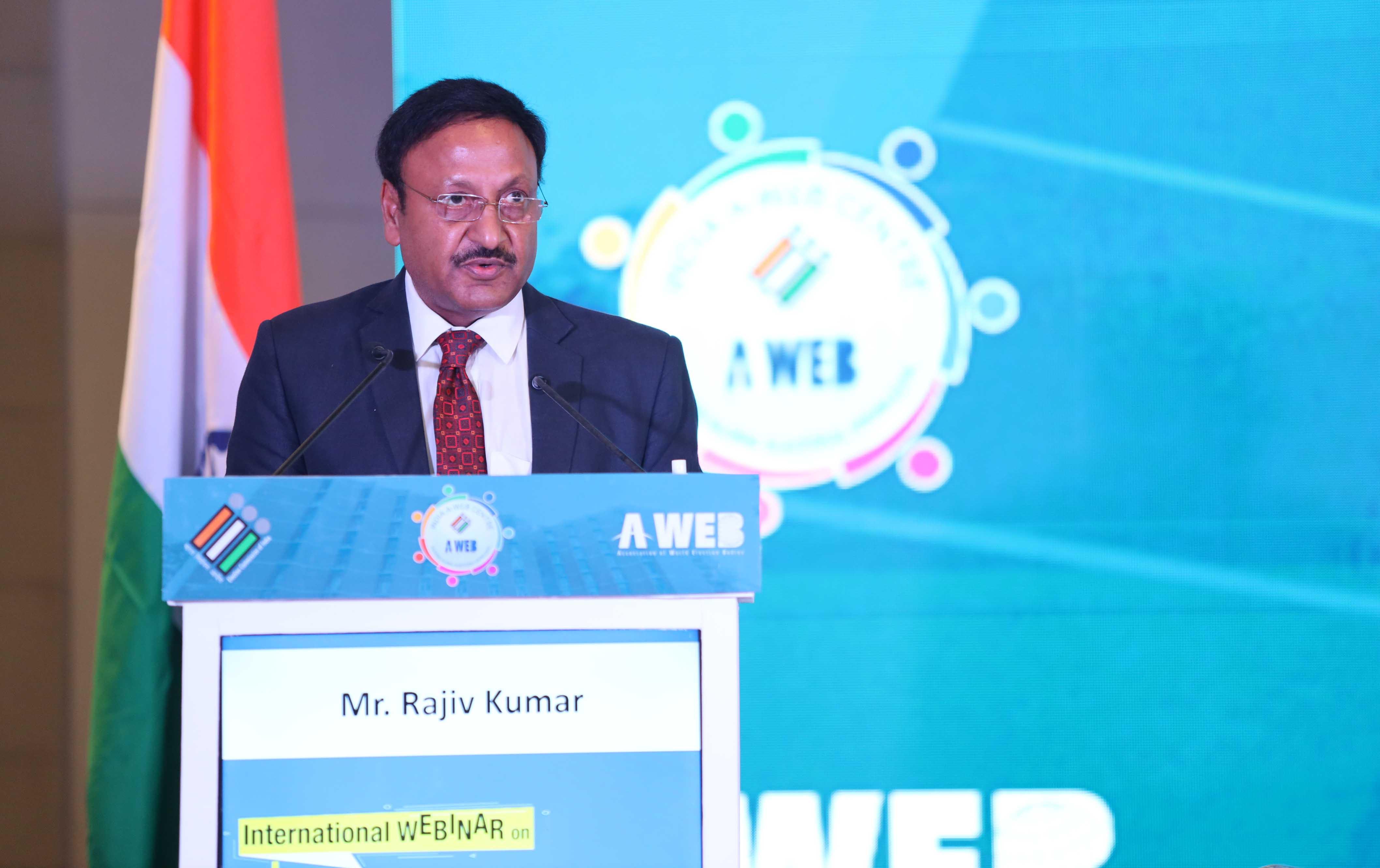 Election Commissioner of India Shri Rajiv kumar delivered his keynote address during the webinar.
